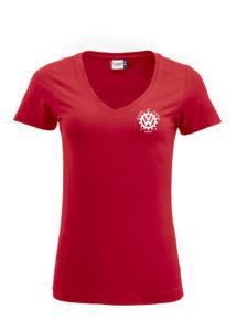 VVW T-skjorte dame med V-hals, Rød