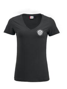 VVW T-skjorte dame med V-hals, Sort